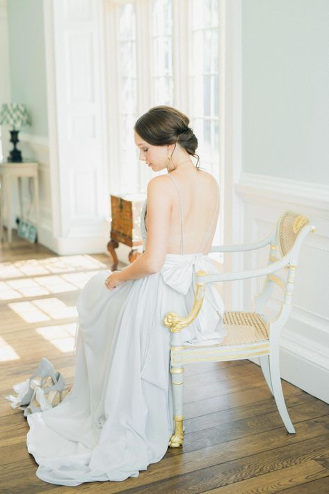 French Blue Bridal Editorial Featuring Chic Baby Blue Wedding Dresses, Romantic Florals And A Rustic, Old World Wedding Aesthetic.  #BridalEditorial #BlueWeddingIdeas #FineArtMinimalistWedding #ElegantBridalEditorial