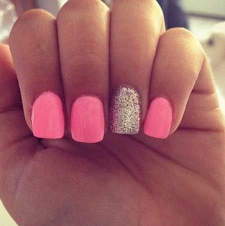 Pink Nails With One Glitter Sparkle Nails Glitter Accent Nails Trendy Nails