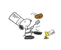 Snoopy and Woodstock make pancakes