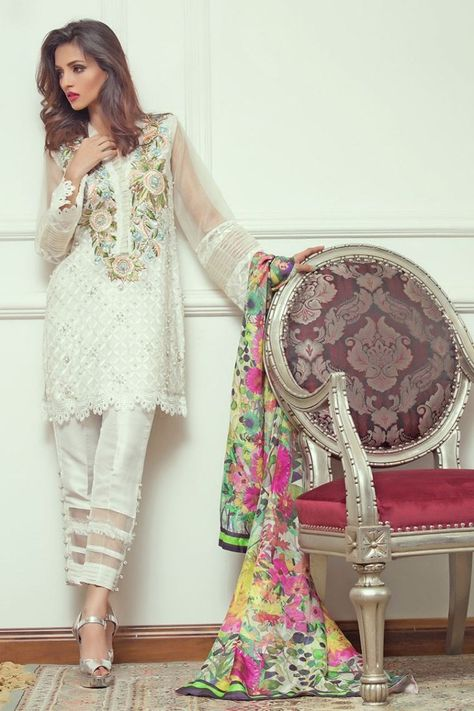Elegant and beautiful white Pakistani party dress by Annus