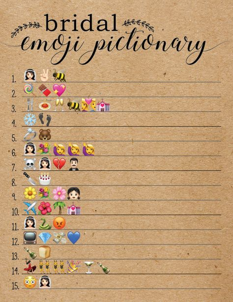 Bridal Shower games- bridal emoji pictionary. So cute!