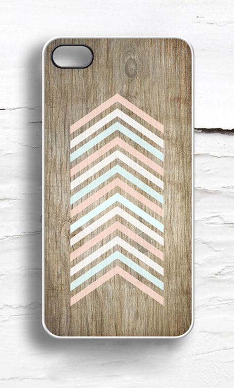 Faux Wood  Pastel Chevron iPhone Case