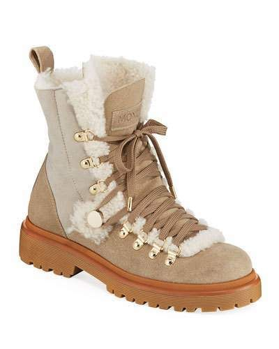 63396deef90 Moncler Berenice Stivale Fur-Lined Hiking Boots