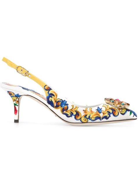 6efd1786e16e6 Shop Dolce   Gabbana embellished Majolica pumps in Tiziana Fausti from the…