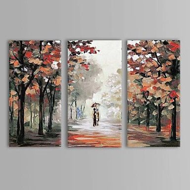 104 03 Hand Painted Landscape Three Panels Canvas Oil Painting For Home Decoration Canvas Art Painting Multi Canvas Painting Art Painting