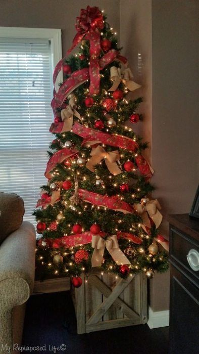 Christmas Tree Stand Box Folds Flat For Storage My Repurposed Life Rescue Re Imagine Repeat Corner Christmas Tree Diy Christmas Tree Christmas Tree