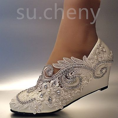 su.cheny White ivory wedge pearls lace crystal Wedding Bridal heels pumps shoes