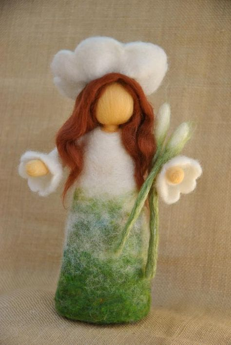 Flower Fairy Waldorf inspired needle felted doll : Spring Maiden