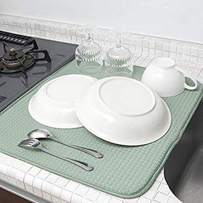 Amazon Mikketa 水切りマット キッチン 食器 大判 速乾 吸水 グリーン