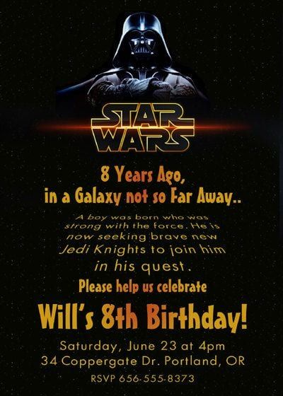 Star Wars Birthday Party Invitations Star Wars Invitations Star Wars Birthday Invitation Star Wars Birthday Party