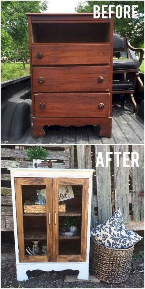 DIY Farmhouse Display Cabinet From Old Chest of Drawers. Turn this little chest of drawers into the cutest little farmhouse display cabinet with a bit of woodworking skills. makeover diy dresser Come trasformare dei vecchi mobili, in oggetti da design! Refurbished Furniture, Repurposed Furniture, Painted Furniture, Furniture Decor, Furniture Plans, Furniture Design, Diy House Furniture, Furniture Stores, Garden Furniture