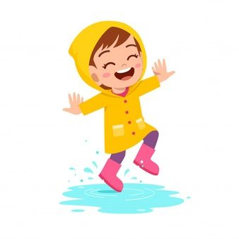 Happy Cute Kid Girl Play Wear Raincoat Kids Graphics Cute Kids Cartoon Sewing