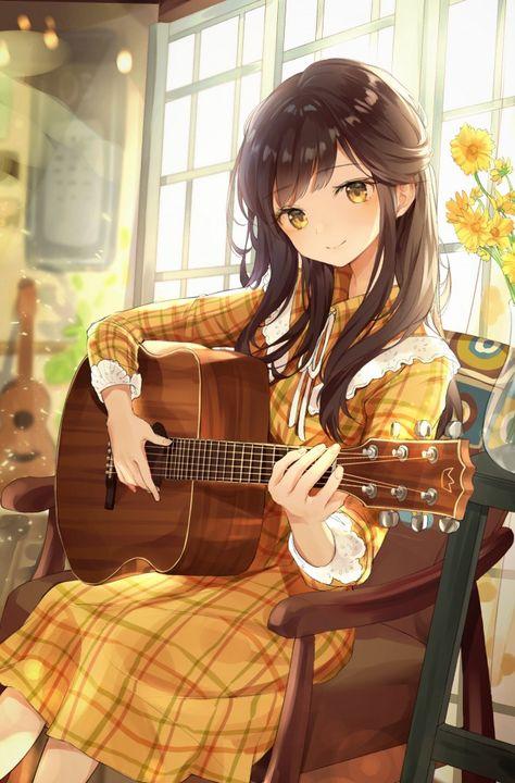 anime girl,playing guitar,instrument,music,cute,brown hair