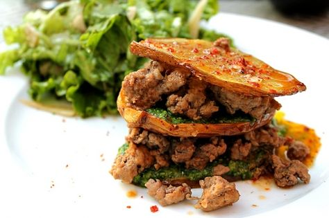 Smoked potato towers with homemade chorizo and arugula pesto. Spanish flavours, perfect for an outdoor summer dinner.