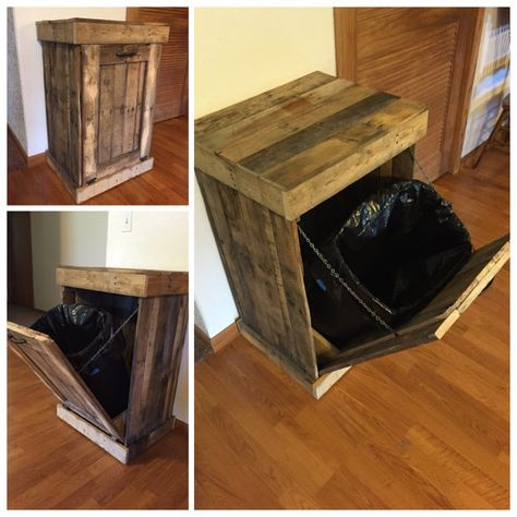 Trash Can Cabinet, Rustic Trash Bin, Country Living, Wooden Pallet Cabinet