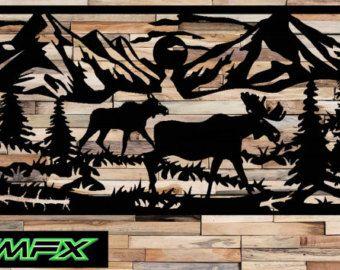 Large Moose Scene Metal Wall Art Rectangle Can Be A Railing Etsy In 2020 Metal Art Wall Art Art
