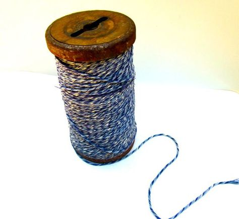 Industrial Vintage Blue Textile Twine Spool by ElmPlace on Etsy, $34.00