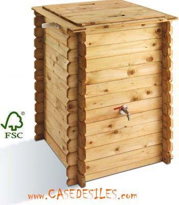 Recuperateur FORESTIER 300L - aspect bois gris anthracite Gardens - recuperation eau de pluie maison