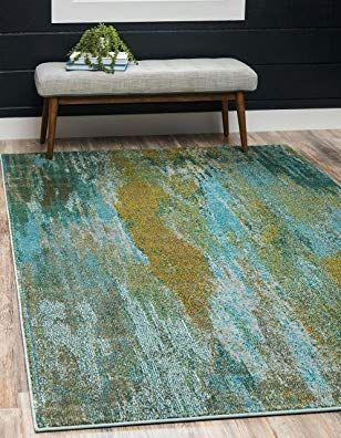 Unique Loom Estrella Collection Vibrant Abstract Turquoise Area