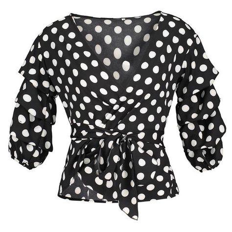 227e73ce0f3a09 Trendy Polka Dot Half-Sleeve Deep-V Wrap Ladies Fashion Blouse S-XL 2 Colors