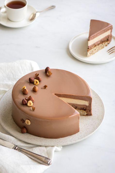 Entremets chocolat au lait et noisettes - Empreinte Sucrée