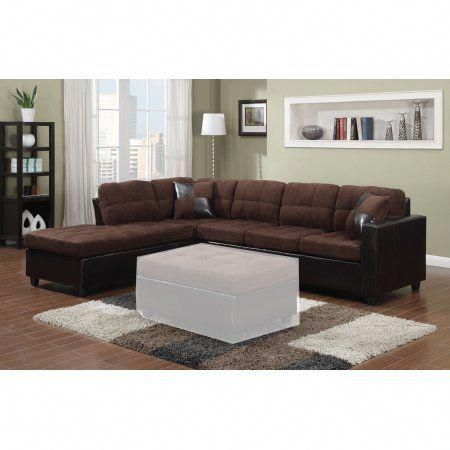 Simple Relax 1perfectchoice Mallory Reversible Sectional Sofa Chocolate Microfiber Upholstery Leather Like Le Leather Sectional Sofas Sectional Sofa Furniture