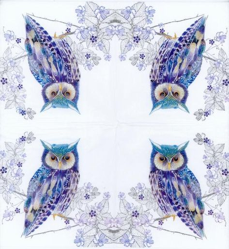 4x PAPER NAPKINS for Decoupage COLOURFUL OWLS