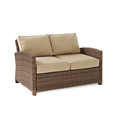 Bradenton Outdoor Wicker Loveseat Walmart Com Wicker Loveseat Brown Wicker Patio Furniture Furniture Loveseat