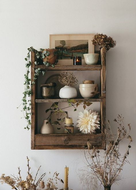 An Autumn Shelf. Our rustic handmade pallet shelf with a gathering of seasonal inspiration from this perfect time of year, fading treasures from nature, a few selected pieces and the gentle warming glow of a candle to lift the mood. Room Inspiration, Interior Inspiration, Pallet Shelves, Pallet Benches, Pallet Cabinet, Pallet Tables, Pallet Wood, Pallet Ideas, Style Deco