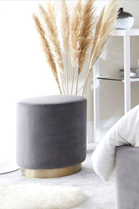 Plaza Grey Velvet Footstool With Brass Base Velvet Footstool Velvet Stool Velvet Furniture