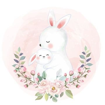 Adorable Rabbit Motherhood Illustration Zoo Animals Clipart Adorable Animal Png And Vector With Transparent Background For Free Download Baby Animal Nursery Art Rabbit Illustration Motherhood Illustration