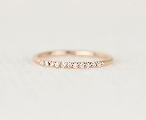 14 k Rose Solid Gold Diamanten Eheringe In Mikro von KHIMJEWELRY