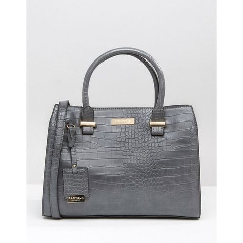 Carvela Tote Bag In Mock Croc ($76) ❤ liked on Polyvore featuring bags, handbags, tote bags, grey, gray handbags, tote handbags, handbags totes, grey purse and croc tote