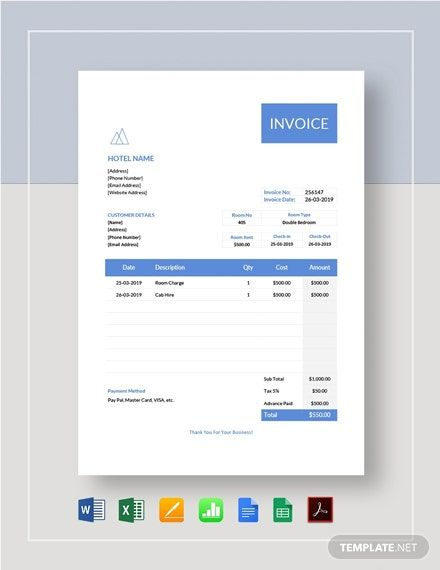 Hotel Stay Invoice Template Free Pdf Word Doc Excel Apple Mac Pages Google Docs Google Sheets Apple Mac Numbers Invoice Template Invoice Template Word Invoice Design Template