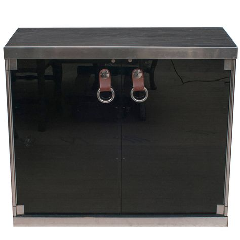 Hermes Black Console Cabinet With Chrome Frame And Glass Doors Felt