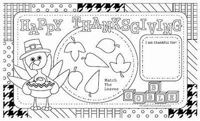 Printable Thanksgiving Placemat Kids Table Turkey Coloring Sheet