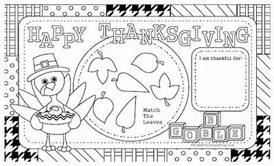 Image Result For Thanksgiving Placemats For Preschoolers