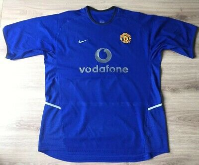 Manchester United Shirt Blue 3rd Kit 2002 2003 Original Nike Adults Xl Vodafone Manchester United Shirt Long Sleeve Tshirt Men Mens Tops
