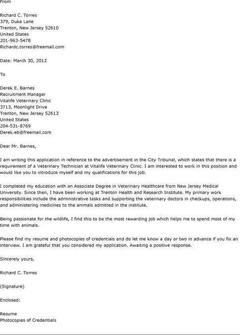 resume cover letter veterinary assistant sles letters ...