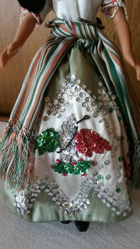 CHINA POBLANA Mexican Doll Midcentury Hand stitched sequins