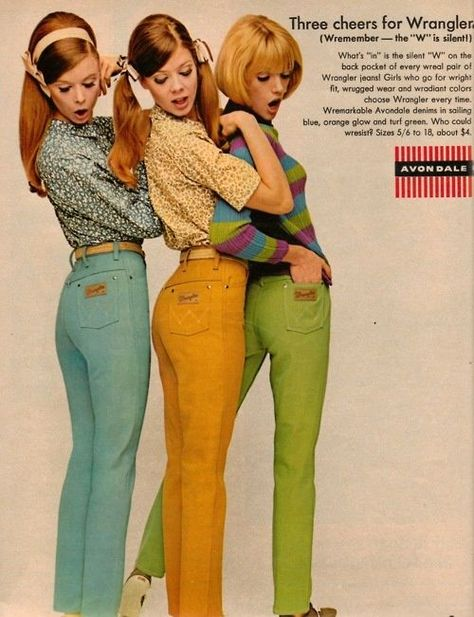 """""""about"""" four dollar jeans? why the hell wasn't I alive in the sixties Wrangler jeans advertisement. 60s And 70s Fashion, Teen Fashion, Retro Fashion, Vintage Fashion, Fashion Outfits, Modern 60s Fashion, 1960s Fashion Women, Fashion Scarves, Victorian Fashion"""