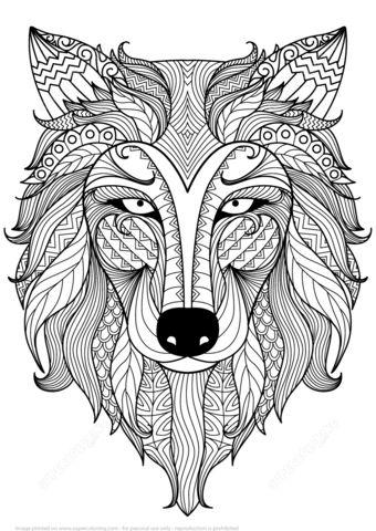 Wolf Zentangle Ausmalbild Mandala Wolf Zentangle Ausmalbild