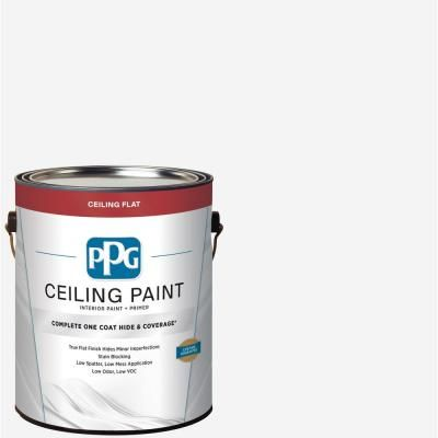 Ppg 1 Gal White Flat Interior One Coat Ceiling Paint With Primer Ppg83 610 In 2020 One Coat Paint Painted Ceiling Ppg Timeless