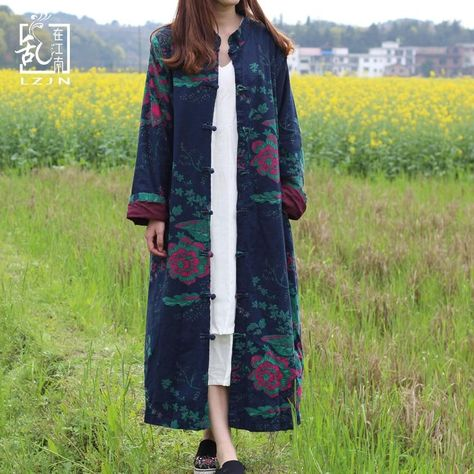 Floral Chinese Linen Trench Coat - Buddhatrends
