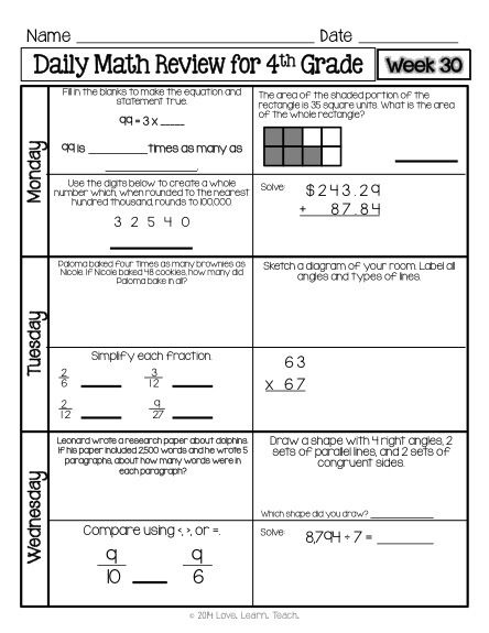 Daily Math Review Fourth Grade Spiral Math Review Morning Work
