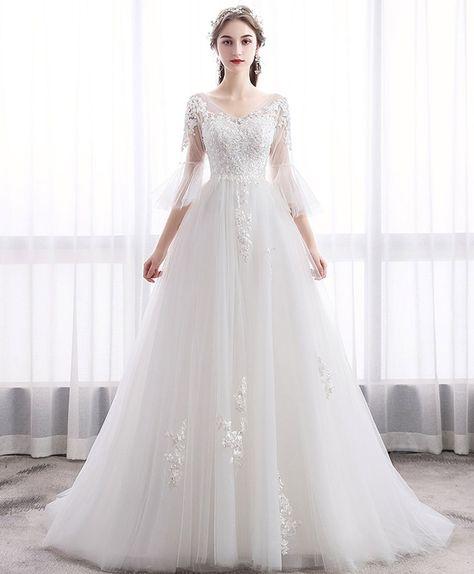 White v neck tulle lace long wedding dress, lace bridal dress - us 8