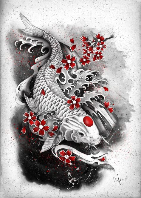 Japanese Tattoo Words, Japanese Tattoo Meanings, Japanese Koi Fish Tattoo, Koi Fish Drawing, Japanese Dragon Tattoos, Japanese Tattoo Designs, Japanese Sleeve Tattoos, Japanese Symbol, Carpe Koi Japonaise
