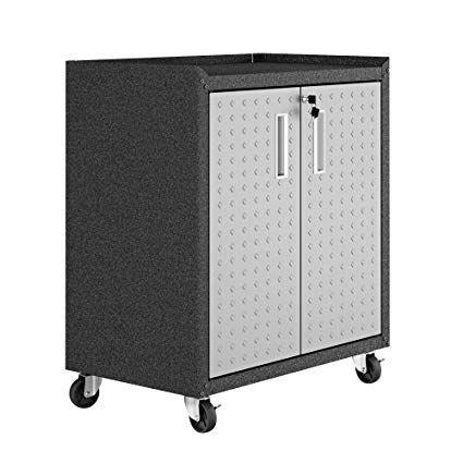 Amazon Com Manhattan Comfort 3gmcc Fortress Rolling 2 Door Garage Storage Cabinet Black Gray Kitchen Dining Garage Storage Cabinets Storage Cabinets Garage Storage