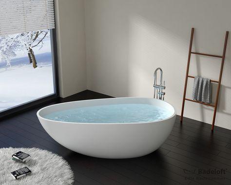 Freistehende Mineralguss Badewanne BW-01 Bad Pinterest - badewanne eingemauert modern