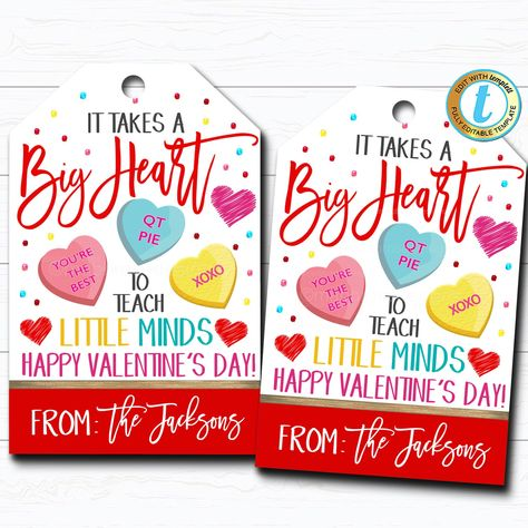 Valentine Teacher Gift Tags, Takes a Big Heart To Teach Little Minds, Valentines Day Candy Chocolate Treat Gift Label, DIY Editable Template #ValentinesDayGift #ThankYouTag #ItTakesABigHeart #TeachLittleMinds #ChocolateCandyTag #HowSweetItIsTo #SchoolPtoPta #ConversationHearts #TreatBagLabel #TeacherGiftIdea